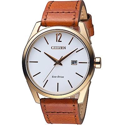 星辰CITIZEN極簡時尚光動能腕錶(BM7418-17A)-玫瑰金色