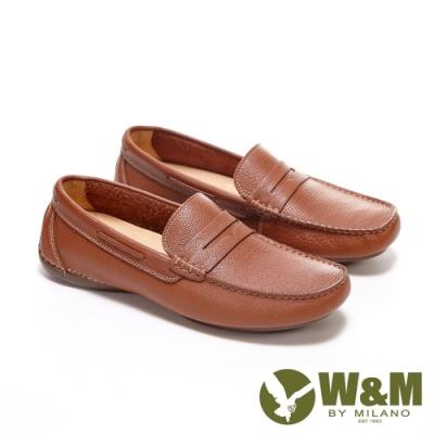 W&M 方頭車線皮飾莫卡辛 樂福鞋 開車鞋 男鞋 -棕(另有黑)