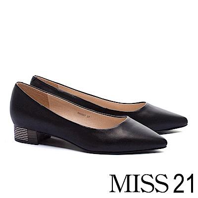 低跟鞋 MISS 21 簡約純色木紋跟設計羊皮尖頭低跟鞋-黑