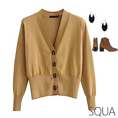 SQUA V領收腰針織外套