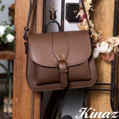 KINAZ 掀蓋古金拉鍊硬挺斜背包-古著暖褐-復古市集系列