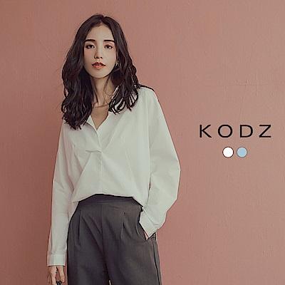 東京著衣-KODZ 知性美人好感度UP前短後長排釦襯衫-S.M.L(共二色)