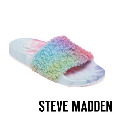 STEVE MADDEN-SHEAR 時尚素面絨毛拖-彩色