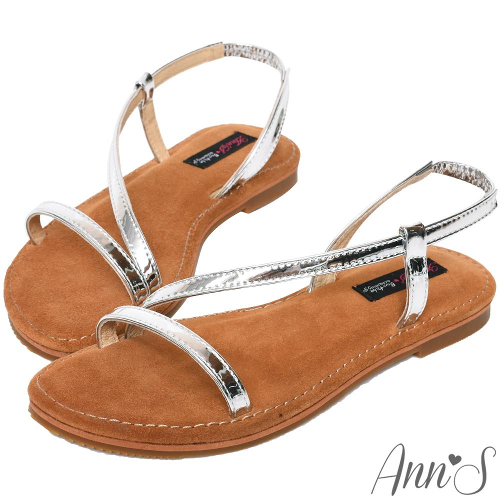 Ann'S水洗牛皮-視覺纖細金屬曲線寬版平底涼鞋-銀