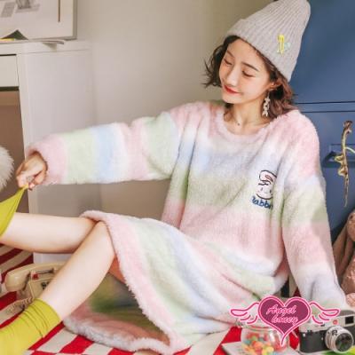 保暖睡衣 夢遊幻境 法蘭絨一件式長袖居家連身睡裙(綠F) AngelHoney天使霓裳