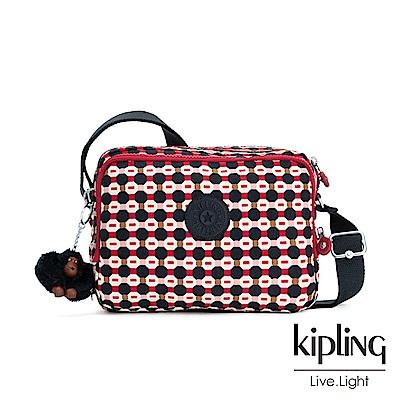 Kipling 節慶感紅黑幾何圖騰雙層側背包-SILEN