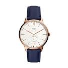 FOSSIL ANDY 玫瑰金藍色皮革手錶(FS5567)