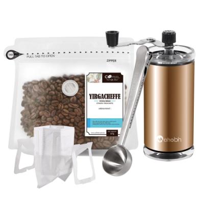 CoFeel 凱飛鮮烘豆耶加雪夫中烘焙咖啡豆半磅+手搖磨豆機+咖啡匙夾子+濾掛咖啡袋10入