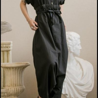 設計所在Style-多種穿法高腰麻料背帶褲休閒褲裙