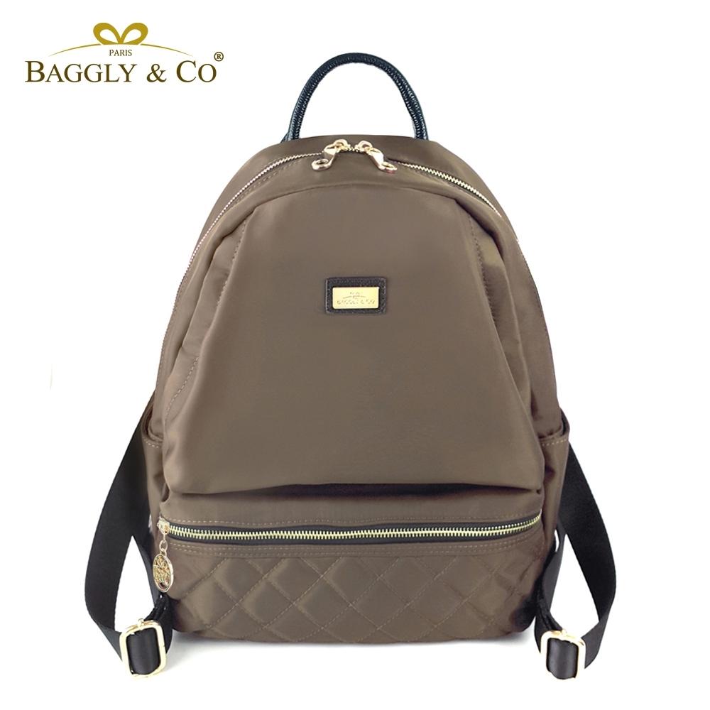 【福利品】【BAGGLY&CO】質感菱格紋真皮尼龍防盜後背包-香檳金