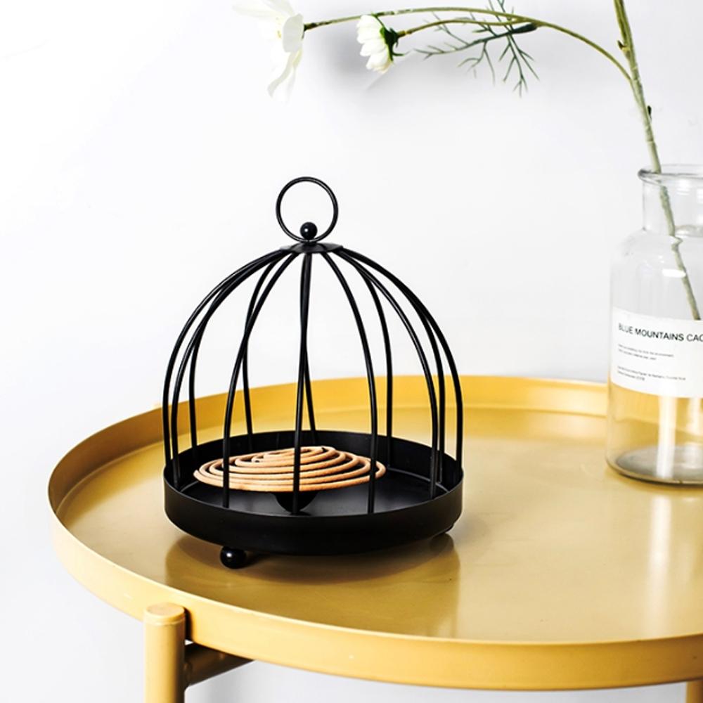 【Meric Garden】復古創意手工金屬蚊香盤/薰香盤/小物收納盤(金色鳥籠)