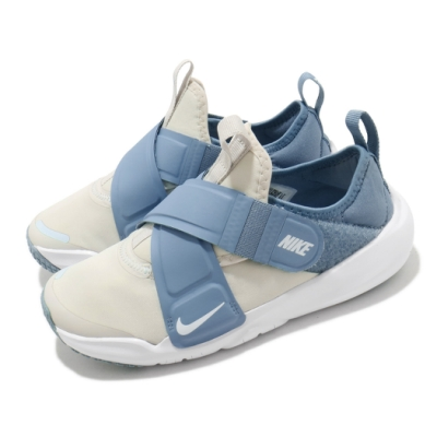 Nike 慢跑鞋 Flex Advance 運動 童鞋 輕量 透氣 舒適 魔鬼氈 中童 穿搭 藍 米白 CZ0186001