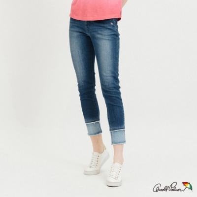 Arnold Palmer-女裝-褲口拼接洗色牛仔褲-藍