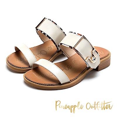 Pineapple Outfitter 時髦涼夏 金屬扣水鑽寬版牛皮拖鞋-米色