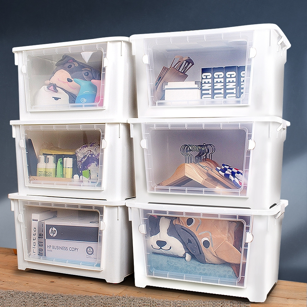 【Mr.box】雙開大容量居家收納整理箱滑輪箱 6入 兩色可選