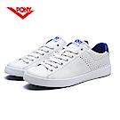 【PONY】TOP STAR 時尚皮革百搭情侶款小白鞋休閒鞋 運動鞋男鞋藍