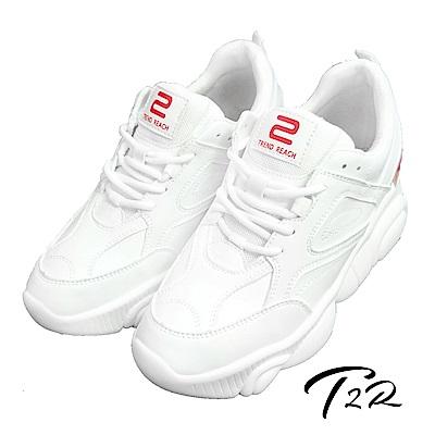 T2R-正韓空運2019心機必備休閒小白鞋/小熊鞋/老爹鞋-增高8公分-三色-白