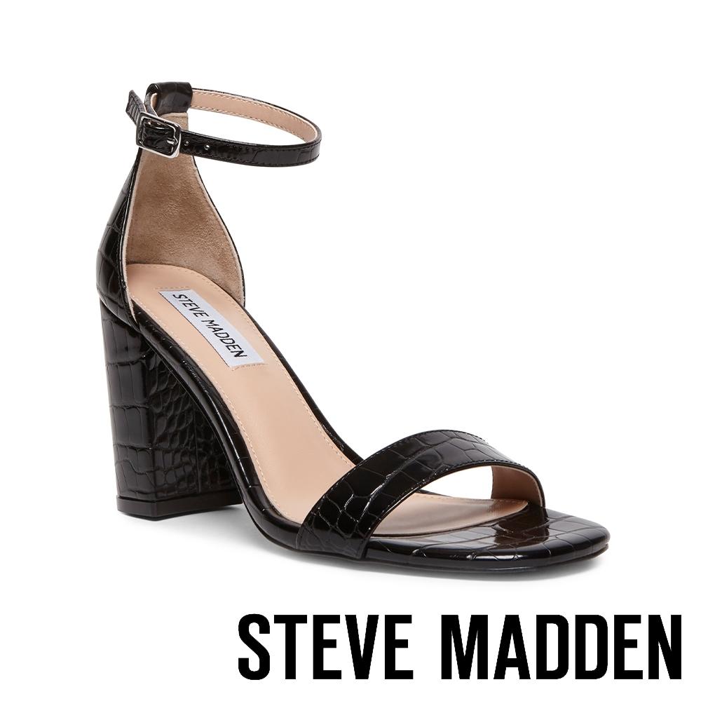 STEVE MADDEN-GIGI 繞踝皮紋一字帶粗高跟涼鞋-黑色