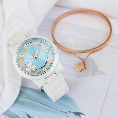 RELAX TIME Garden系列幸運草鏤空陶瓷錶-白x藍(RT-80-5)