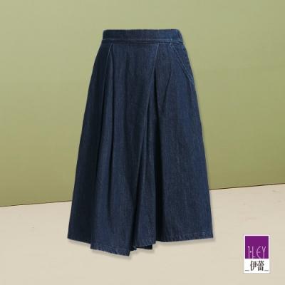 ILEY伊蕾 不對稱剪裁低檔牛仔寬褲(藍)