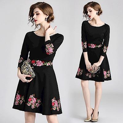 素雅花卉刺繡大圓領收腰洋裝連身裙S-XL-M2M