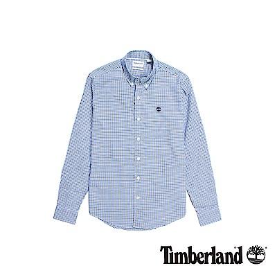 Timberland 男款藍色格紋長袖襯衫