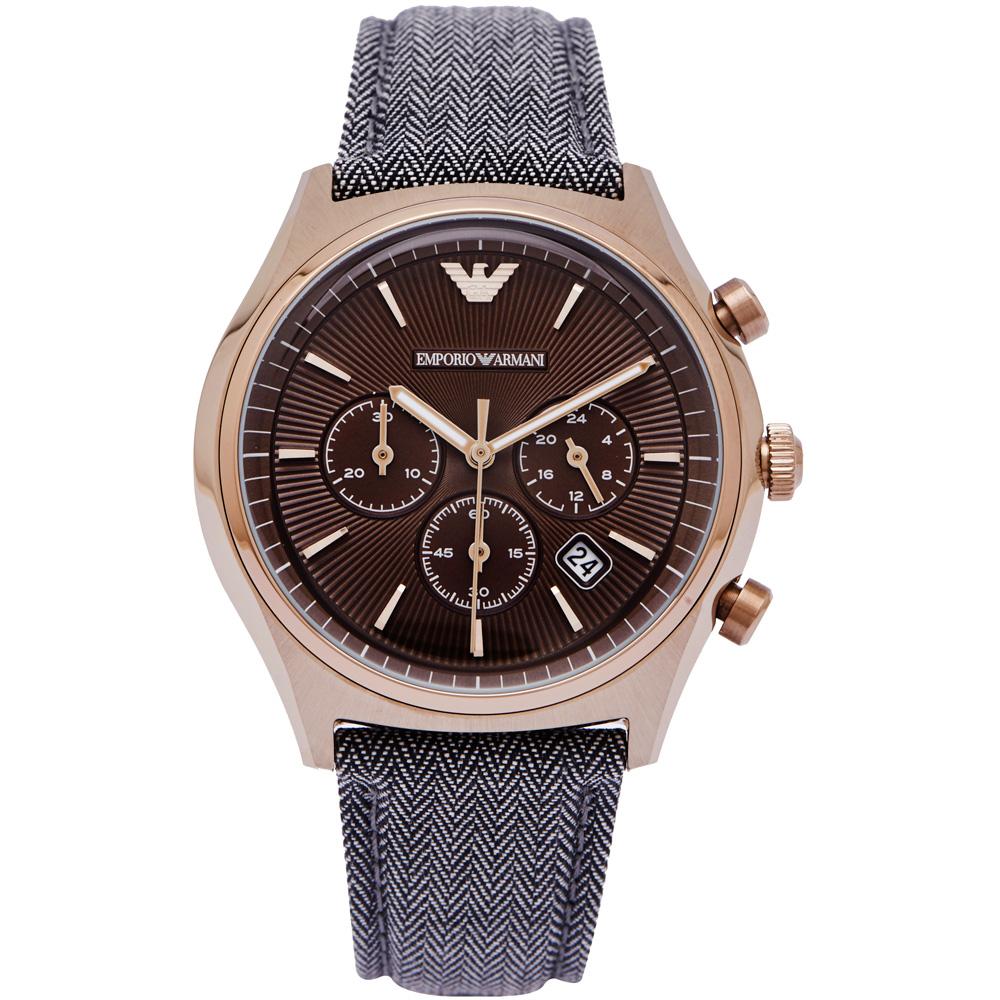 ARMANI 率性而為風男性三眼手錶(AR1976)-咖啡色面/42mm
