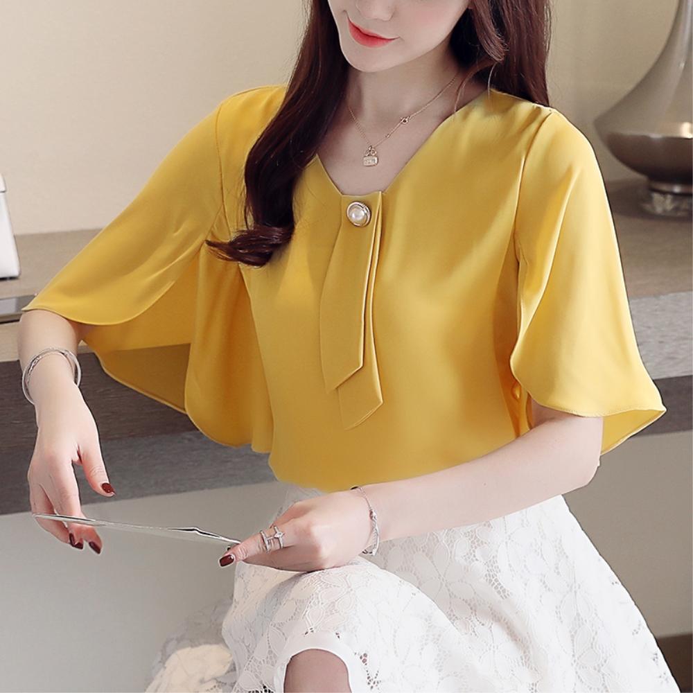 DABI 韓國風名媛優雅蝙蝠袖雪紡衫襯衫短袖上衣