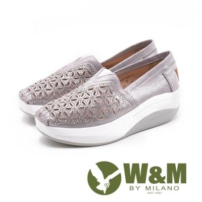 W&M(女) BOUNCE系列 鏤空雕花 透氣增高厚底鞋-銀(另有黑)