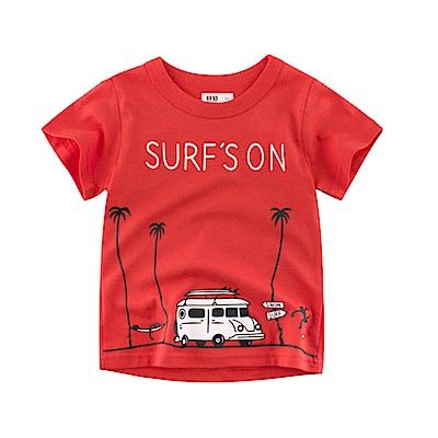 男童 中小童 歐美風格舒柔棉短袖T恤-公車行駛