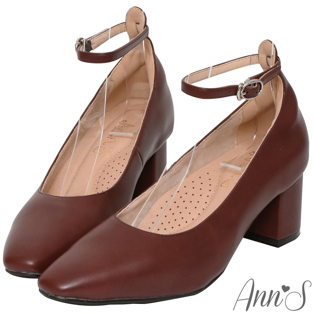 Ann'S穿了就變筷子腿-繫帶瑪莉珍微方頭粗跟包鞋-紅