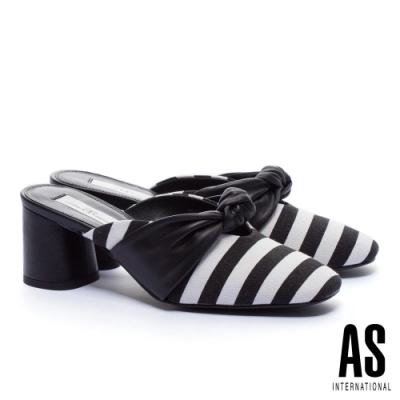 穆勒鞋 AS 時尚海軍風條紋扭結穆勒高跟拖鞋-黑