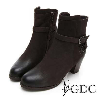 GDC-真皮素色基本側扣環帥氣風擦色粗跟短靴-咖色