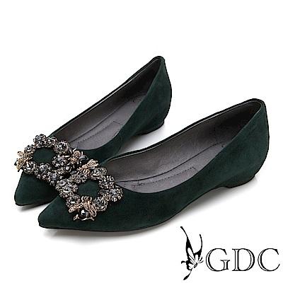 GDC-高貴真皮尖頭蜜蜂水鑽平底鞋-綠色
