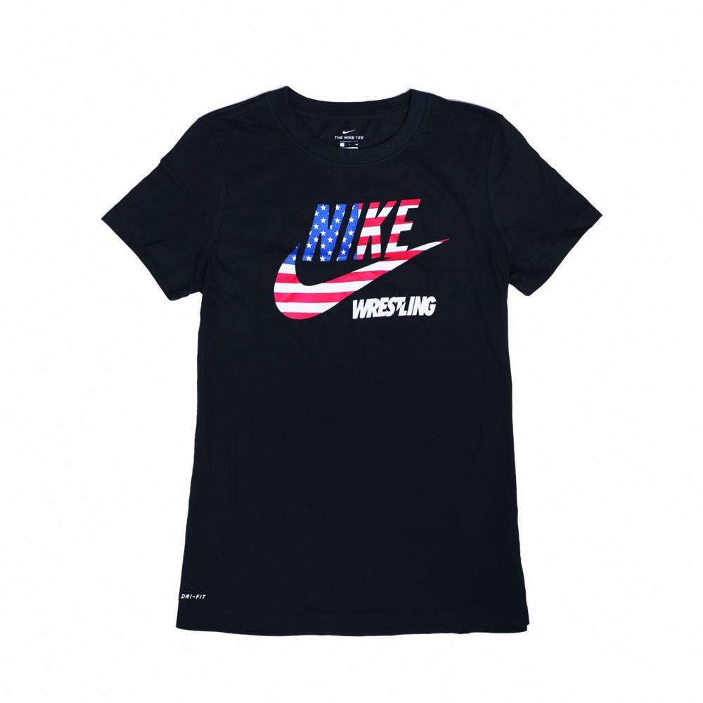 Nike T恤 Wrestling Tee 美國國旗 女款 運動休閒 吸濕排汗 DRI-FIT 圓領 黑白紅 561423010WRUS