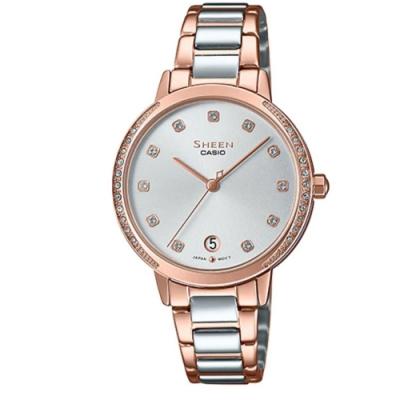 SHEEN 閃耀氣質女神玫瑰金點綴不鏽鋼腕錶-(SHE-4056SPG-7A)/32mm