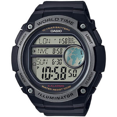 CASIO世界地圖液晶螢幕數位腕錶-黑AE-3000W-1A 55mm