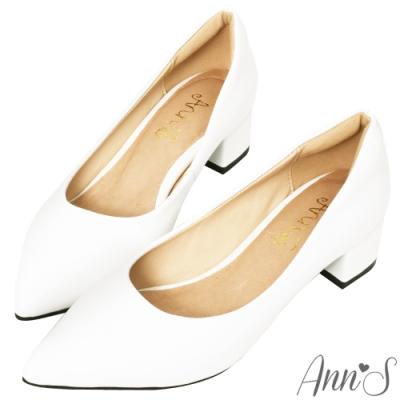 Ann'S加上優雅低跟版-復古皮革沙發後跟低跟尖頭鞋-白