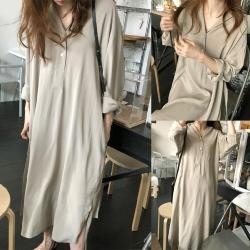 MOCO韓國質感面料復古優雅雙翻領半開釦腰附綁帶側開叉長版洋裝