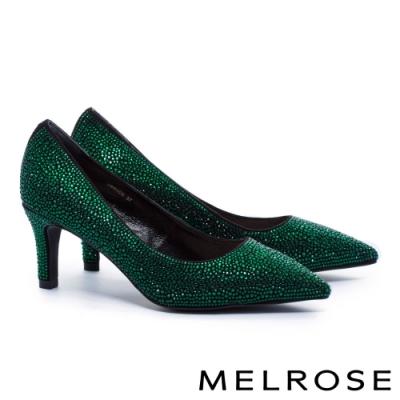 高跟鞋 MELROSE 時髦迷人閃耀水鑽羊麂布尖頭高跟鞋-綠