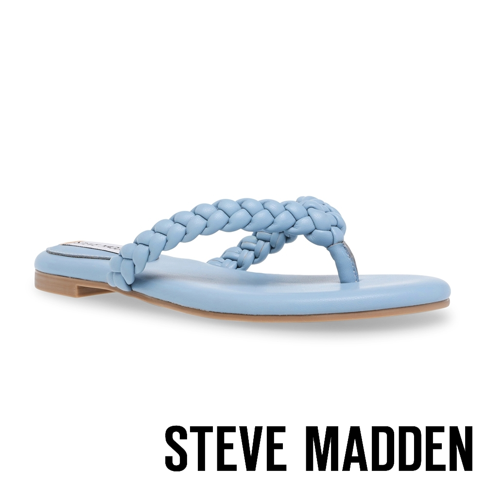 STEVE MADDEN-NIBBLE 編織夾腳涼拖鞋-BABY藍