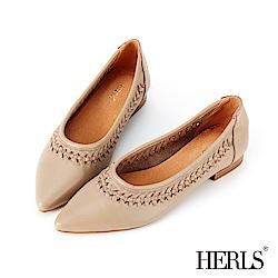 HERLS 全真皮鏤空編織滾邊尖頭低跟鞋-灰杏色