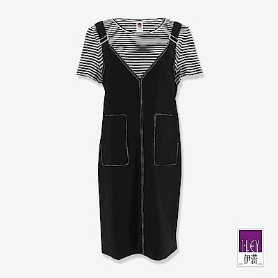 ILEY伊蕾 吊帶造型條紋假兩件洋裝(黑)