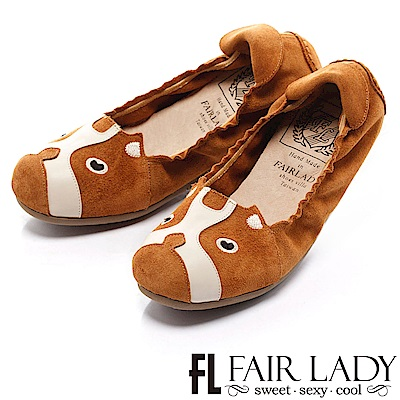 Fair Lady 我的旅行日記 可愛狗狗休閒鞋 駝