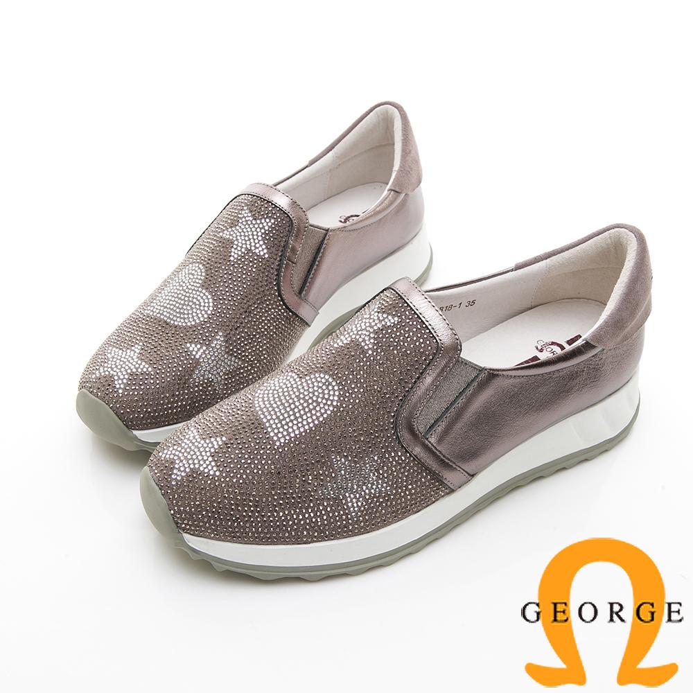 【GEORGE 喬治皮鞋】俏皮水鑽舒適彈力拼接厚底休閒鞋-銀色 @ Y!購物