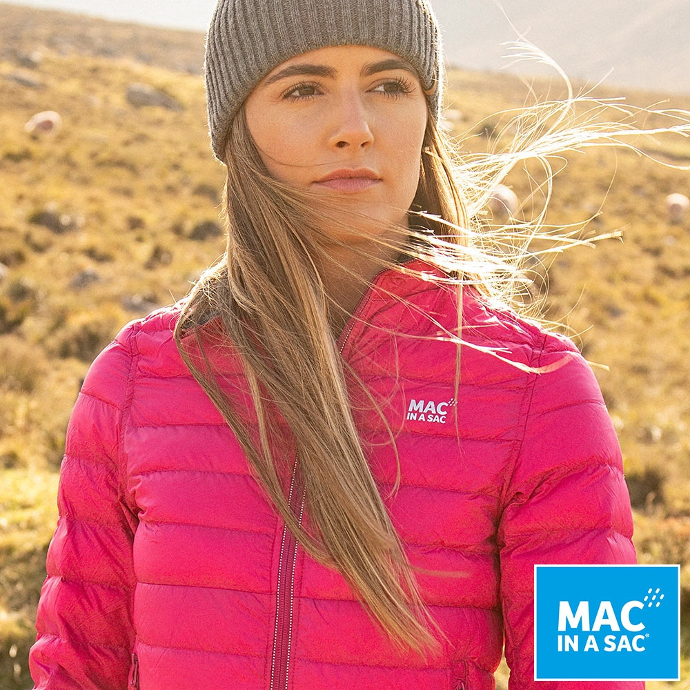【MAC IN A SAC】女款輕暖袋著走雙面羽絨外套LDS207桃紅深藍/輕量保暖/收納體積小