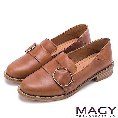 MAGY 復古潮流 氣質素面蠟感牛皮孟克鞋-棕色