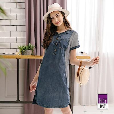 ILEY伊蕾 條紋拼接牛仔短袖洋裝(藍)