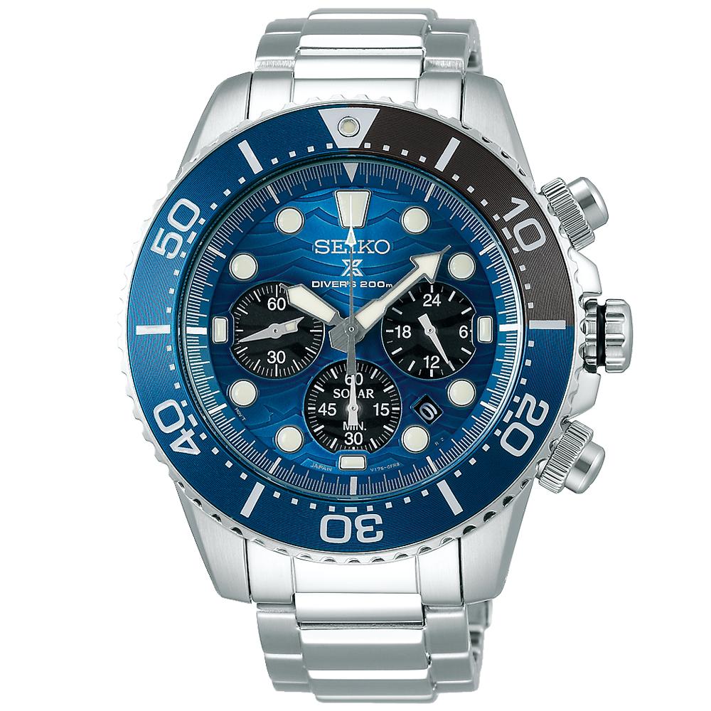 SEIKO 精工PROSPEX太陽能200米潛水手錶SSC741P1-藍X銀/43.5mm