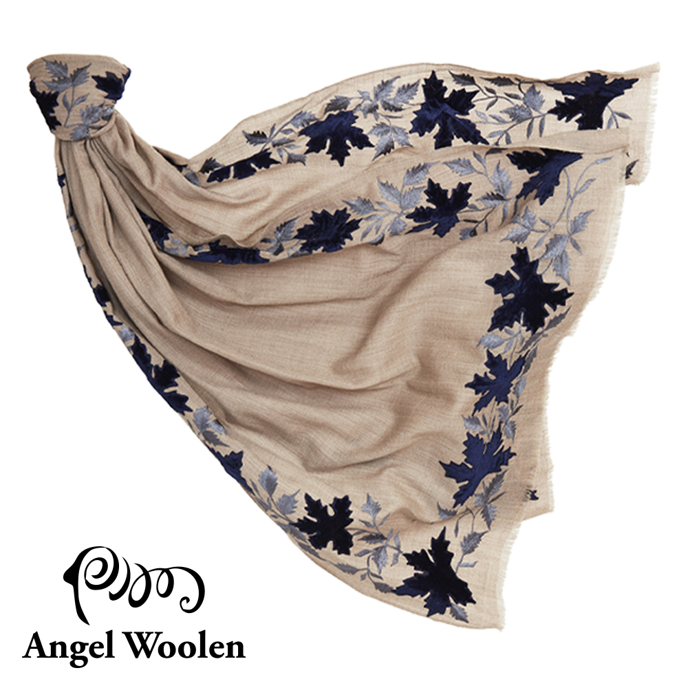 【ANGEL WOOLEN】楓情印度手工刺繡cashmere羊絨毛披肩